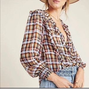Anthro • Maeve plaid Laila blouse top